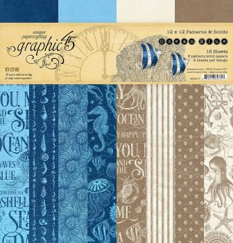 Ocean Blue 12 x 12 paper pad : Patterns and Solids