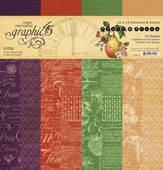 Graphic 45 Fruit and Flora 12x12 Patterns & Solids Pad