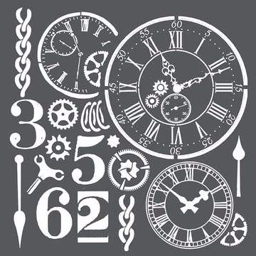 Stamperia 18x18 Stencil Watches and Numbers