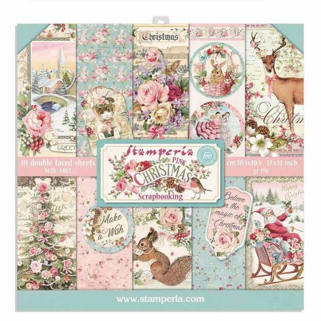 Stamperia Pink Christmas 12 x 12 paper pad
