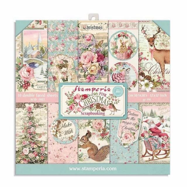 Stamperia Pink Christmas 8x8 paper pad