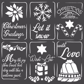 Stamperia 18x18 Stencil Christmas Tags