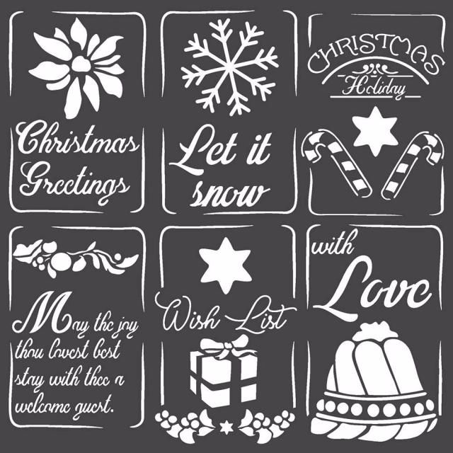Stamperia Thick media stencil : 18 x 18 : Christmas Tags