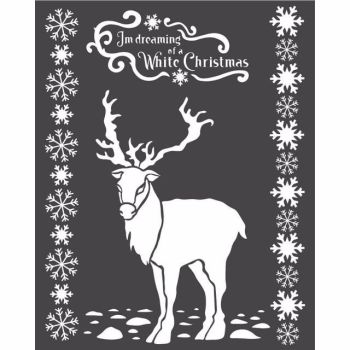 Stamperia 20x25 Stencil White Christmas Deer