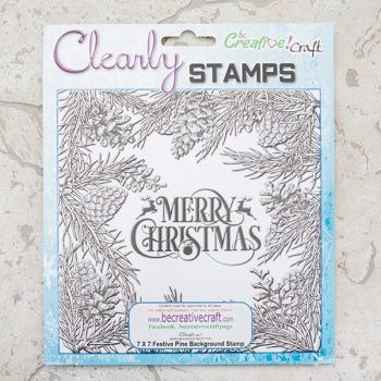 7x7 Festive Pine background stamp