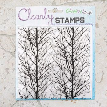 7x7 Winter Trees Silhouette background stamp