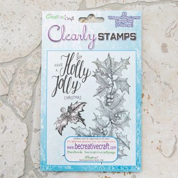 A6 Vintage Holly Corner stamp set