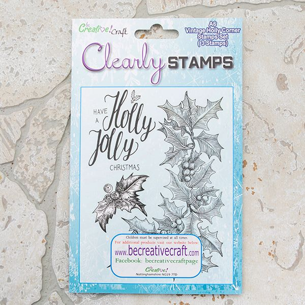 Vintage Holly corner stamp set