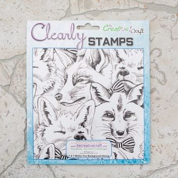 7x7 Winter Fox background stamp