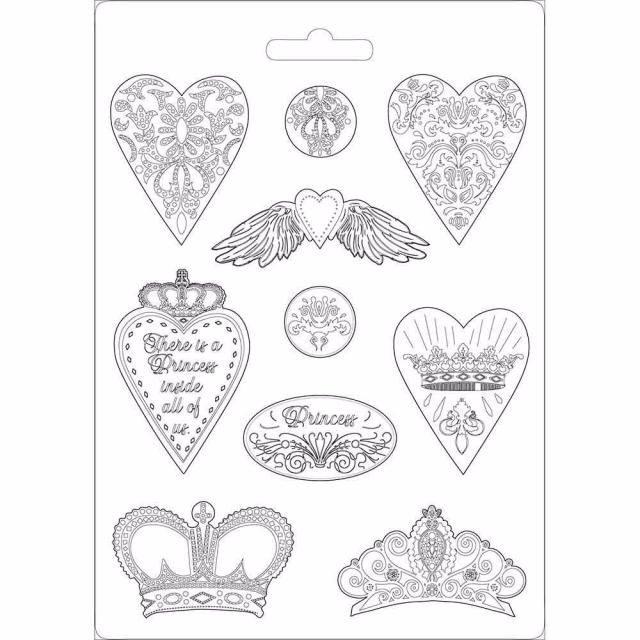 STAMPERIA SOFT MOULD : HEARTS AND CROWNS