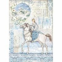 Stamperia  A4 Rice paper Winter Tales Packed Horse