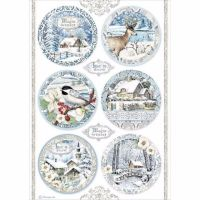 Stamperia  A4 Rice paper Winter Tales Packed Round Landscapes