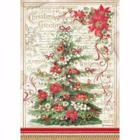 Stamperia  A4 Rice paper Christmas Greeting Tree