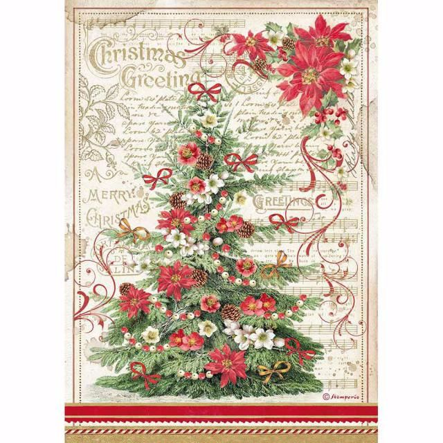 STAMPERIA RICE PAPER A4 : CHRISTMAS GREETING TREE