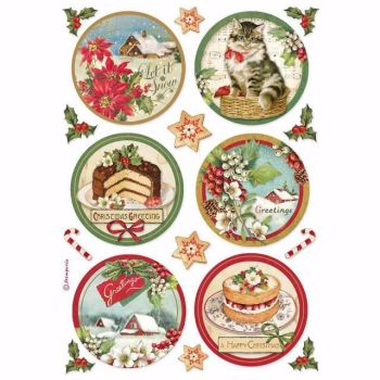 Stamperia  A4 Rice paper Happy Christmas Round