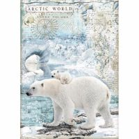Stamperia  A4 Rice paper Arctic Antarctic Polar Bears