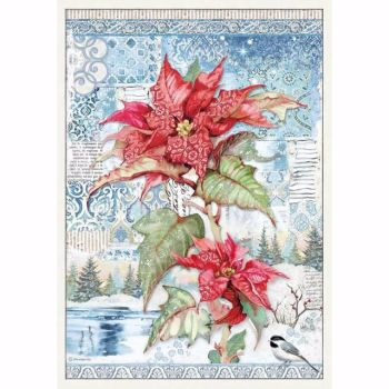 Stamperia  A3 Rice paper Packed Wallpaper Poinsettia Red