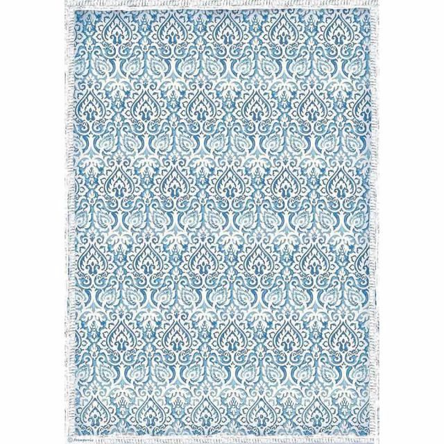 STAMPERIA A3 RICE PAPER : DAMASK BLUE