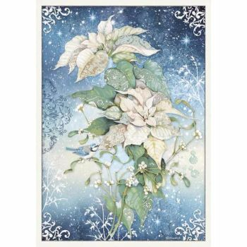 Stamperia  A3 Rice paper Packed Wallpaper Poinsettia White