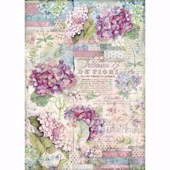 Stamperia  A3 Rice paper Packed Hortensia