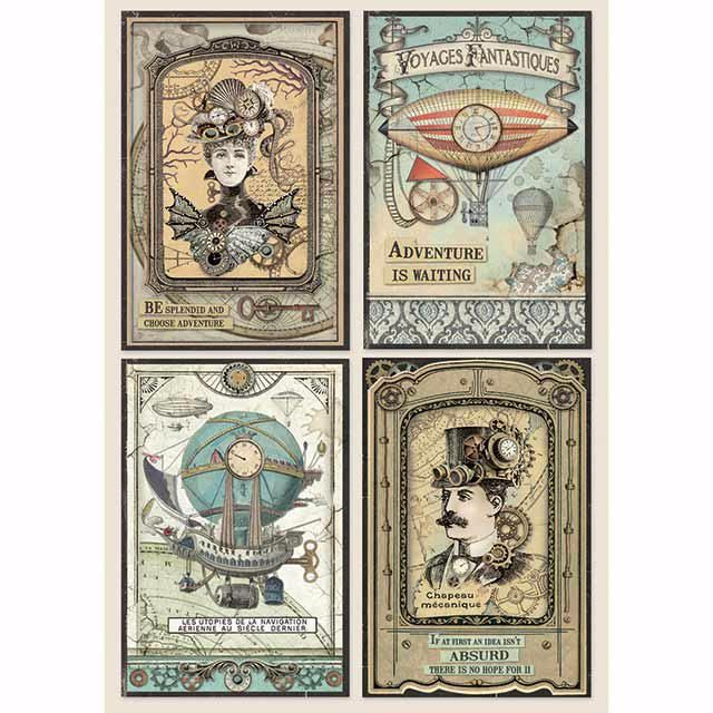 STAMPERIA A4 RICE PAPER : VOYAGES FANTASTIQUES CARDS