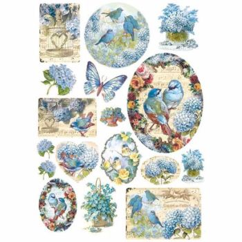 Stamperia  A4 Rice paper Birds and light blue butterfly