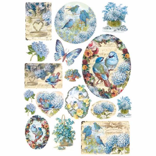 A4 RICE PAPER :Birds and light blue butterfly