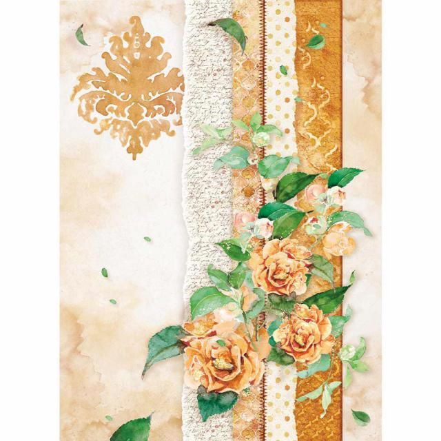 STAMPERIA A4 RICE PAPER :Flowers for you ocher