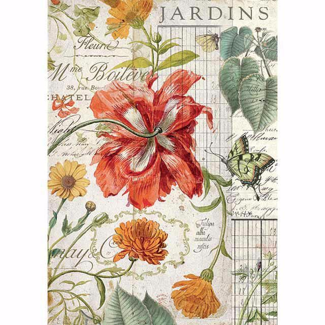 STAMPERIA RICE PAPER A4 :packed Jardins