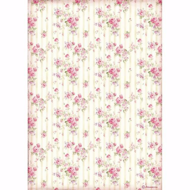 STAMPERIA A4 RICE PAPER ;Rose wallpaper