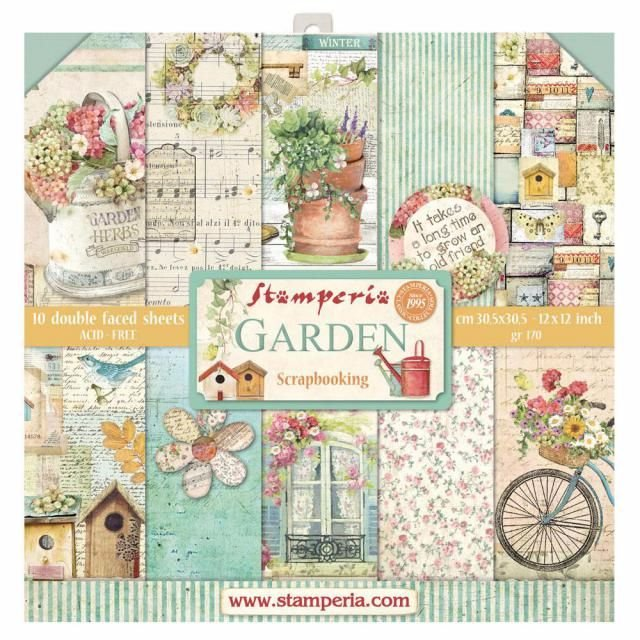STAMPERIA 12 X 12 PAD : GARDEN : 10 SHEETS