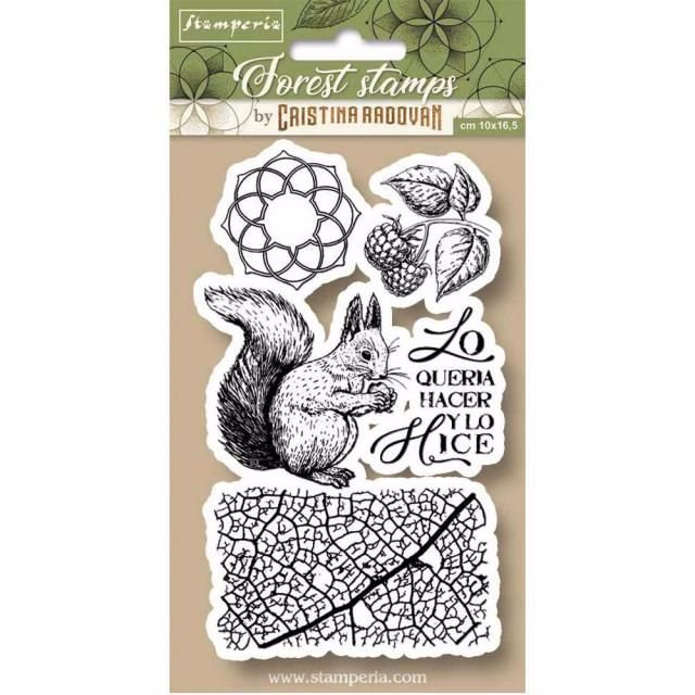 STAMPERIA FOREST STAMPS : 5 STAMPS : FOREST SQUIRREL