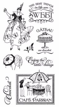 Graphic 45 Rubber Stamp Set : Cafe Parisian