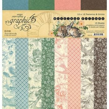 Graphic 45 Woodland Friends 12x12 Patterns & Solids Pad