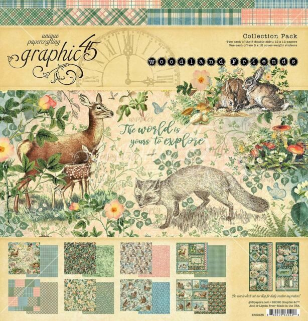 Graphic 45 Woodland Friends 12 x 12 paper pad