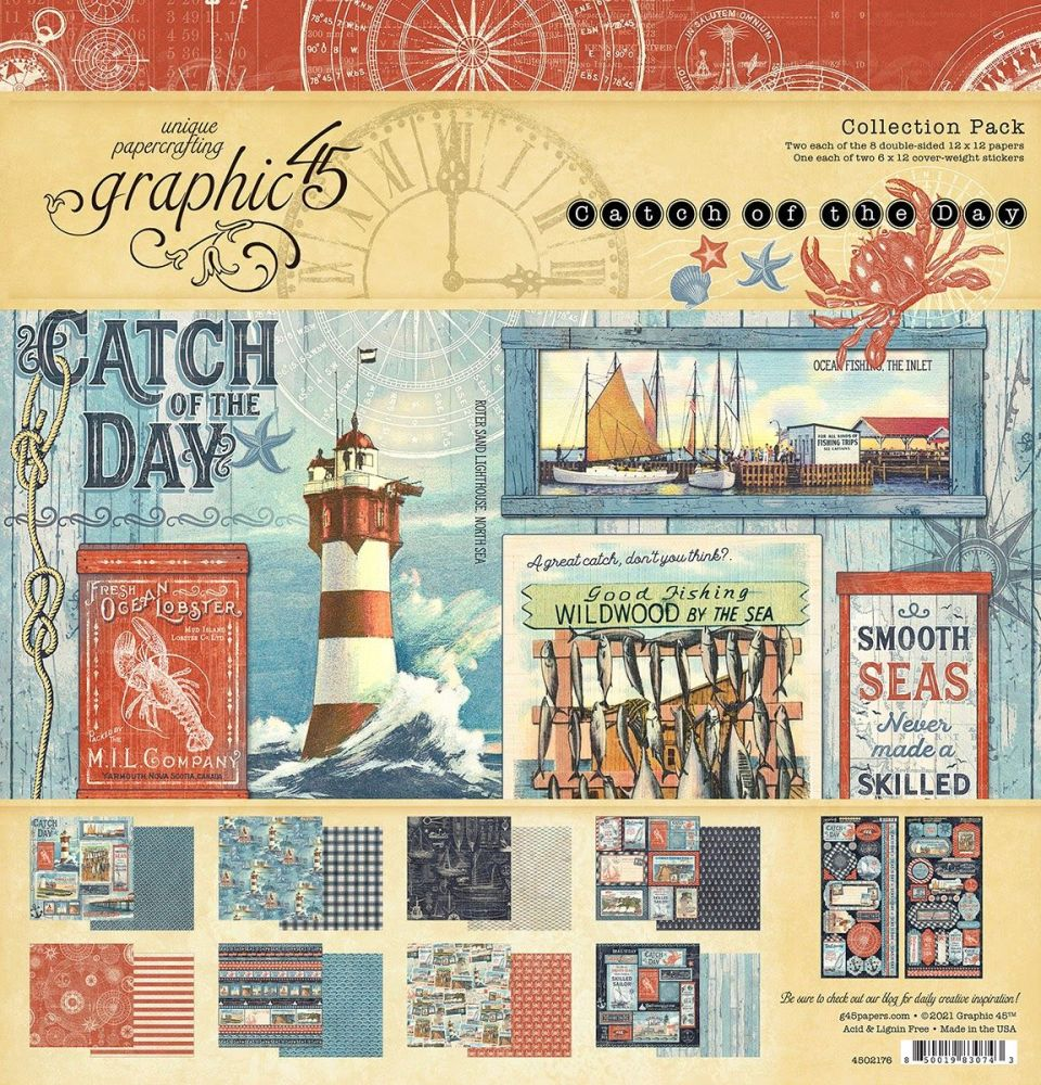 Graphic 45 Catch Of The Day 12x12 Collection Pack