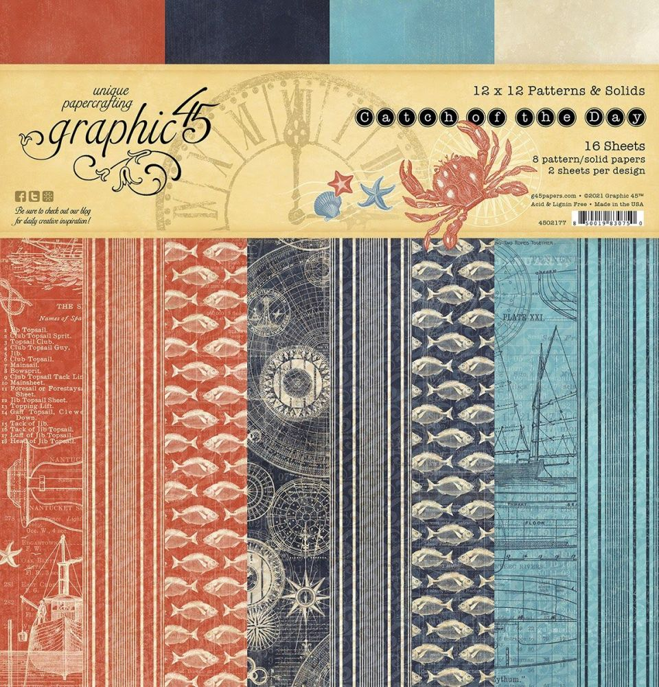 Graphic 45 Catch Of The Day 12x12 Patterns & Solids Pad