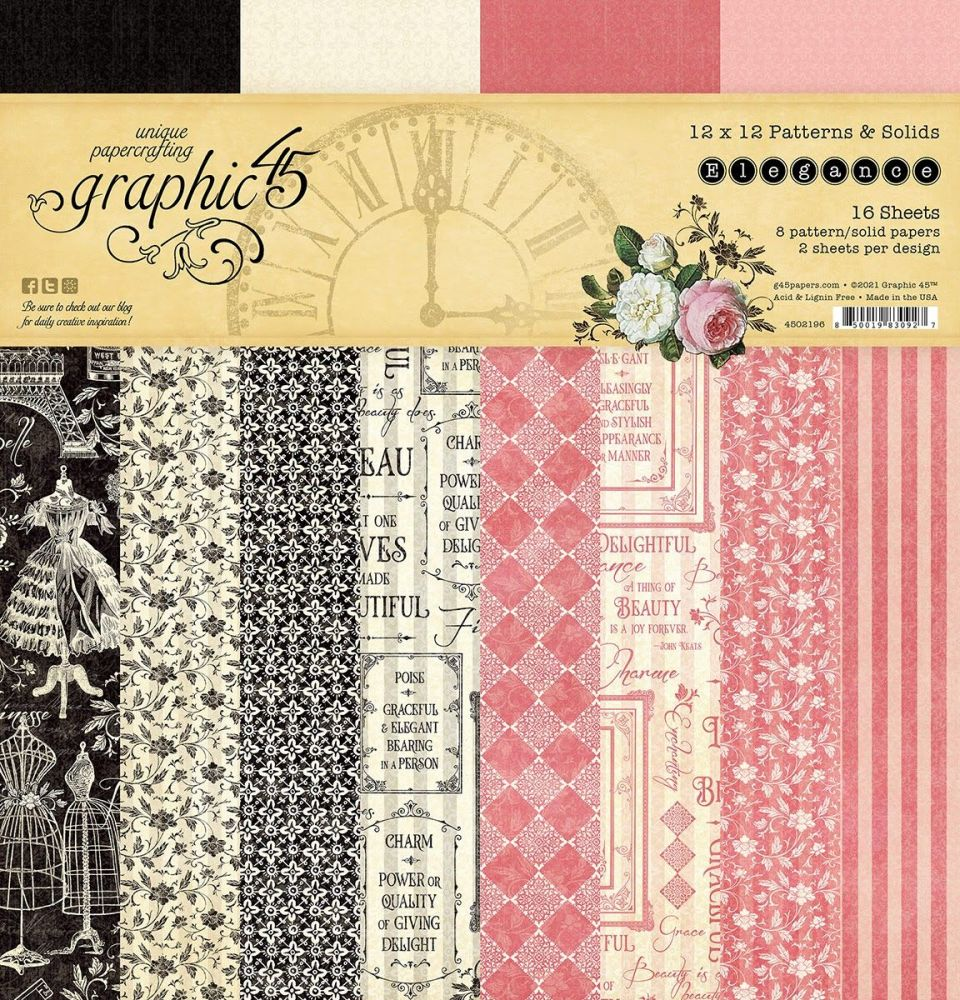 Pre Order Graphic 45 Elegance 12x12 Patterns & Solids Pad