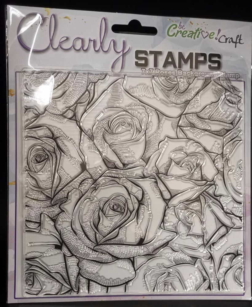 NEW : Be Creative stamp set : 7x7 Roses background
