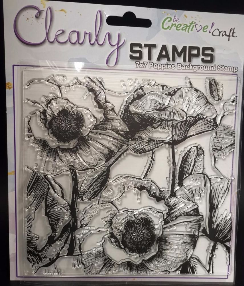 NEW : 7X7 Poppies Background stamp