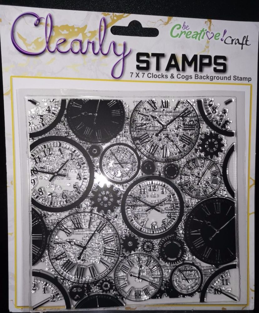 Clocks and Cogs : 7x7 Background stamp