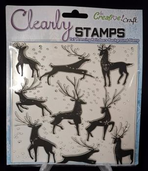 7x7 Background stamp : Prancing Reindeer