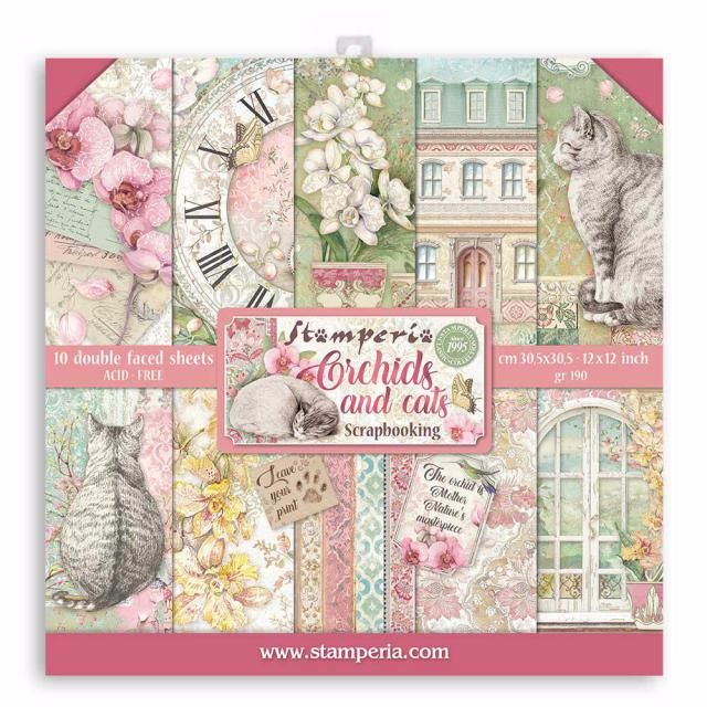 Stamperia 12 x 12 Paper pad : Orchids and Cats