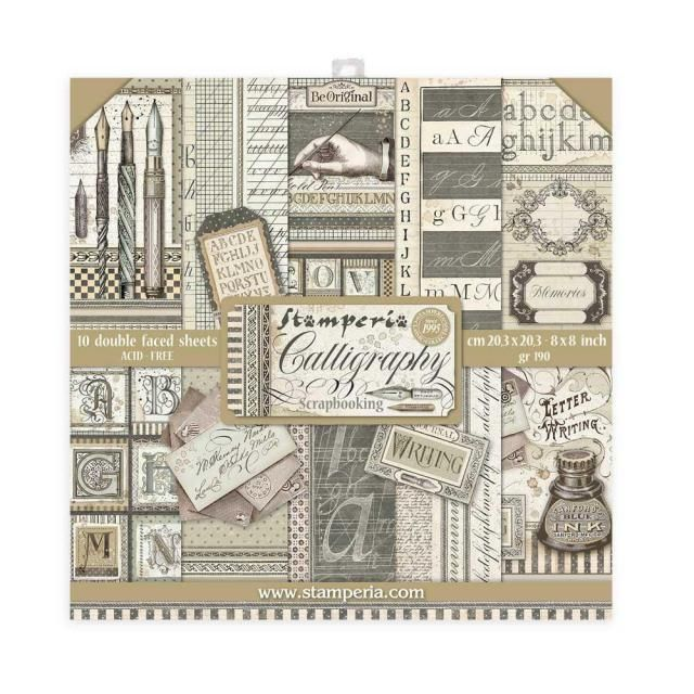 Stamperia 8x8 paper pad : Calligraphy