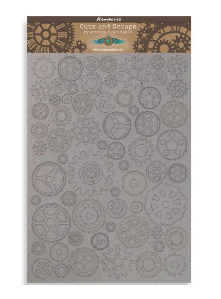 Stamperia Cuts and Scraps Greyboard Gears Small