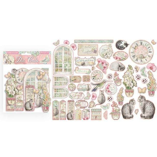 Stamperia Assorted Die Cuts Orchids & Cats