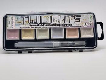 Twilight paints : set 6 : 6 pigment rich pearlescent colours plus storage container and water brush