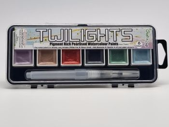 Twilight paints : set 3 : 6 pigment rich pearlescent colours plus storage container and water brush