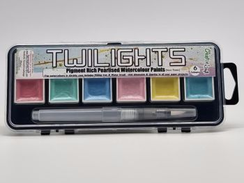 Twilight paints set 4 : includes 6 pigment rich pearlescent colours plus storage container and water brush