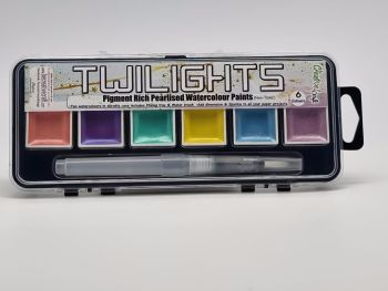 Twilight paints set 2 : includes 6 pigment rich pearlescent colours plus storage containers and water brush